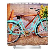 Route 66 Vintage Bicycle Shower Curtain