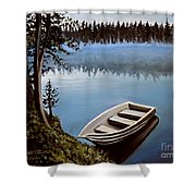 Row Boat In The Fog Shower Curtain