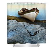 Row Boat On Shore Shower Curtain