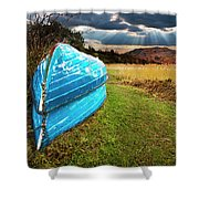 Row Boats In Waiting Shower Curtain by Meirion Matthias