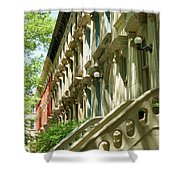 Row Houses In White Shower Curtain