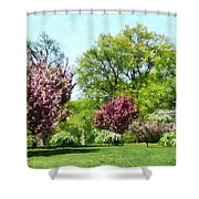 Row Of Flowering Trees Shower Curtain