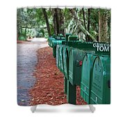 Row Of Green Mailboxes7426 Shower Curtain