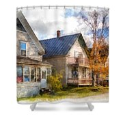 Row Of Houses Hardwick Vermont Watercolor Shower Curtain