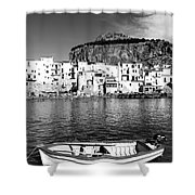 Rowboat Along An Idyllic Sicilian Village. Shower Curtain