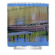 Rowboat And Blue Reflections Shower Curtain