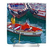 Rowboat In The Harbor At Port Of Valpaparaiso-chile Shower Curtain