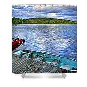 Rowboats On Lake At Dusk Shower Curtain by Elena Elisseeva