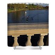 Rowinfg Towards The Weeks Bridge Charles River Harvard Square Cambridge Ma Shower Curtain