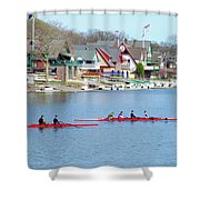 Rowing Along The Schuylkill River Shower Curtain