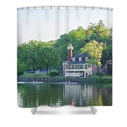 Rowing Along The Schuylkill River In Philadelphia Shower Curtain