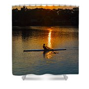 Rowing At Sunset 2 Shower Curtain