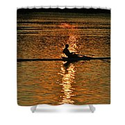 Rowing At Sunset 3 Shower Curtain