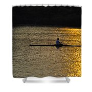 Rowing At Sunset Shower Curtain