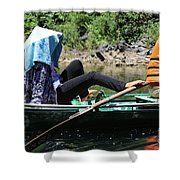 Rowing Boat With Legs, Tam Coc  Shower Curtain