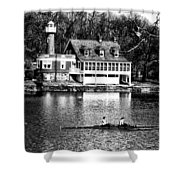 Rowing Past Turtle Rock Light House In Black And White Shower Curtain
