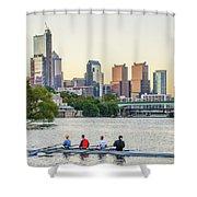 Rowing The Schuylkill - Philadelphia Cityscape Shower Curtain