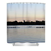 Rowing Under A Pastel Sky Shower Curtain