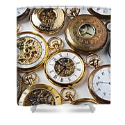 Rows Of Pocket Watches Shower Curtain by Garry Gay