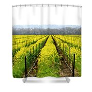 Rows Of Wild Mustard Shower Curtain