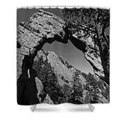 Royal Arch Trail Arch Boulder Colorado Black And White Shower Curtain