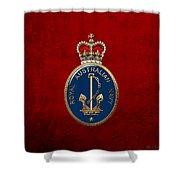 Royal Australian Navy -  R A N  Badge Over Red Velvet Shower Curtain