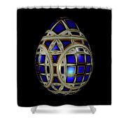 Royal Blue Egg With White Enamel And Goldleaf Shower Curtain