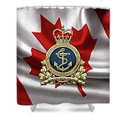 Royal Canadian Navy  -  R C N  Badge Over Canadian Flag Shower Curtain