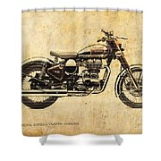 Royal Enfield Classic Chrome 2016, Poster For Men Cave Shower Curtain