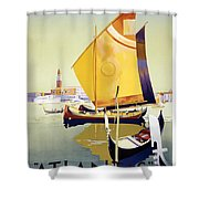 Royal Mail Atlantis Autumn Cruises Vintage Travel Poster Shower Curtain