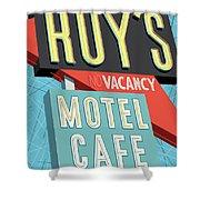 Roy's Motel Cafe Pop Art Shower Curtain by Jim Zahniser