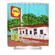 Rt 66 Shell Station Shower Curtain