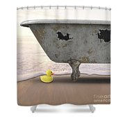Rubber Ducky Bathtub Beach Surreal Shower Curtain