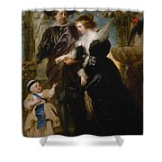 Rubens His Wife Helena Fourment 16141673 And Their Son Frans 16331678 Shower Curtain