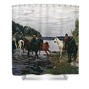 Rubicon. Crossing The River By Denis Davydov Squadron. 1812. Shower Curtain