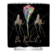 Rubik's Cube And Salvador Dali Elephants Shower Curtain