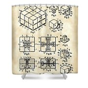Rubik's Cube Patent 1983 - Vintage Shower Curtain