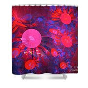 Ruby Blue Rays Shower Curtain