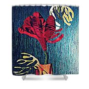 Ruby Red Flower Shower Curtain