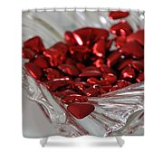Ruby Red Hearts And Crystal Shower Curtain