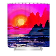 Ruby Red Levitation Shower Curtain