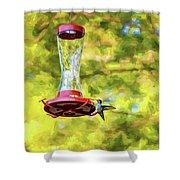 Ruby-throated Hummingbird 2 - Impasto Shower Curtain