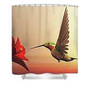 Ruby-throated Hummingbird - 3d Render Shower Curtain