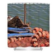Ruddy Turnstones Perching On Fishing Nets Shower Curtain
