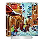 Rue St Paul Montreal Streetscene Cafes And Caleche Shower Curtain