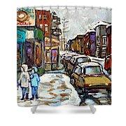 Achetez Les Petits Formats Scenes De Montreal St Viateur Bagel And Cola Truck Buy Montreal Painting  Shower Curtain