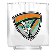 Rugby League Player Playing Ball Shield Retro Shower Curtain