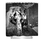 Rugged Cross At Fuerty Cemetery Roscommon Ireland Shower Curtain
