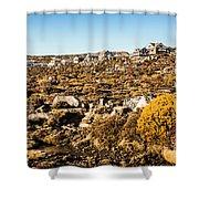 Rugged Mountain Town Shower Curtain