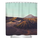 Rugged Mountainous Terrain Mount Bromo At Sunrise Shower Curtain